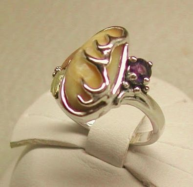 Custom Made Black Hills Gold On Silver Elk-Ivory With Amethyst Ring