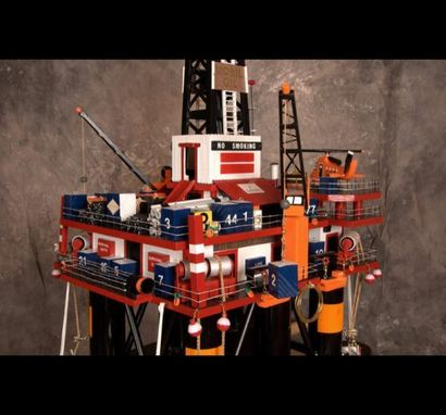 Custom Made Wooden Semi-Submersible Oil Rig Model