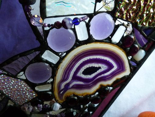Custom Made Amethyst-Themed Abstract Stained Glass Panel