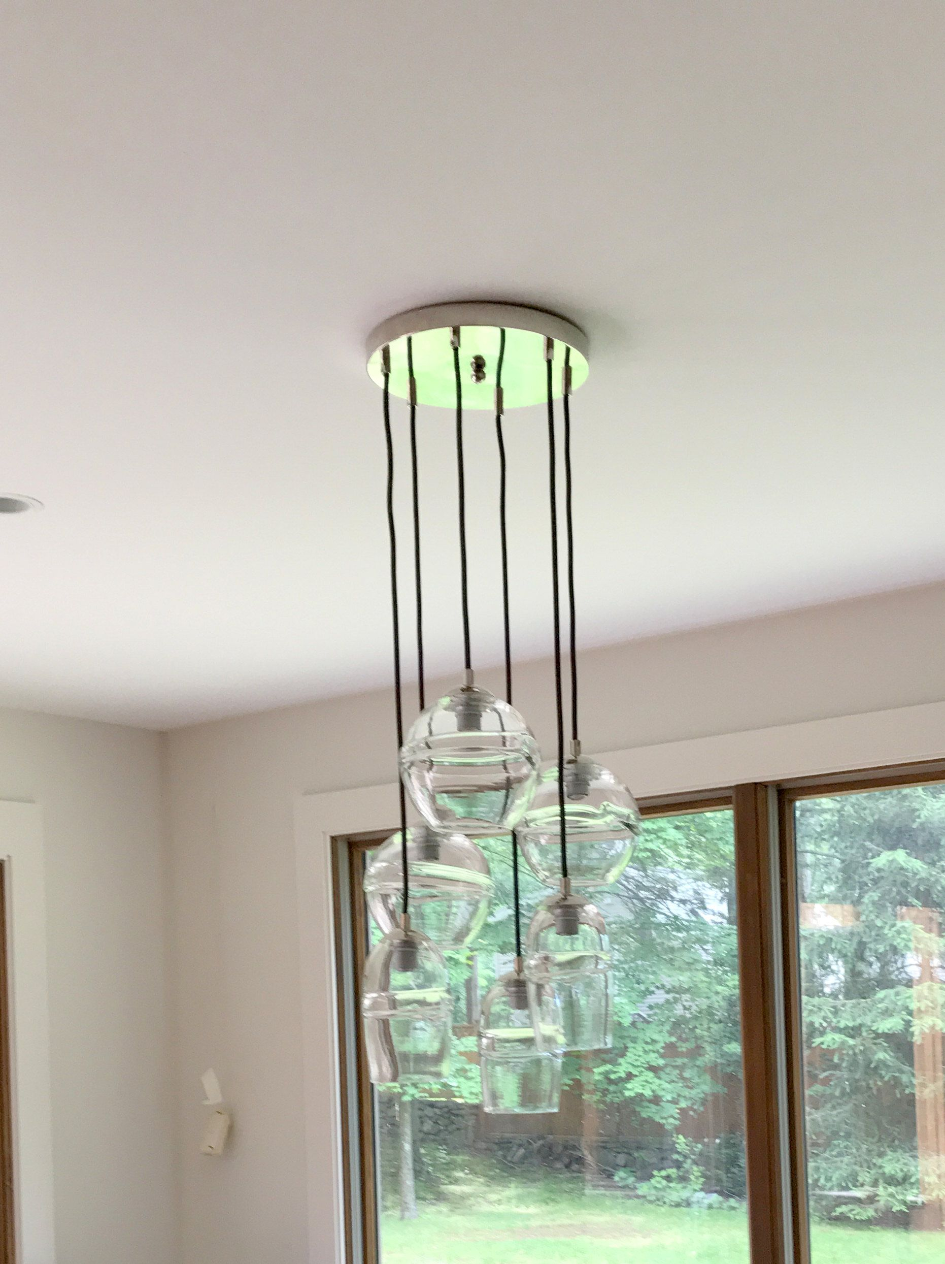 Custom made clear banded globe cluster multi port pendant chandelier