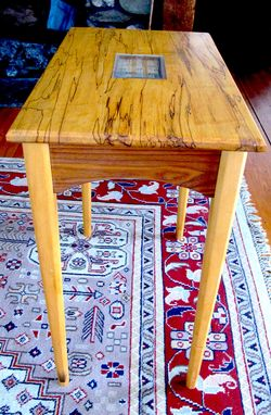 Custom Made Spalted Maple And Walnut Side Table With Handblown Glass Inlay