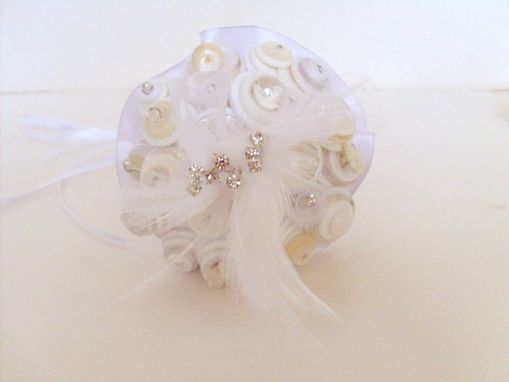 Custom Made Cream And White Buttons Mini Bridal Bouquet