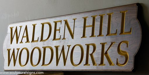 Custom Made Custom Carved Walnut Gold Leaf Signs