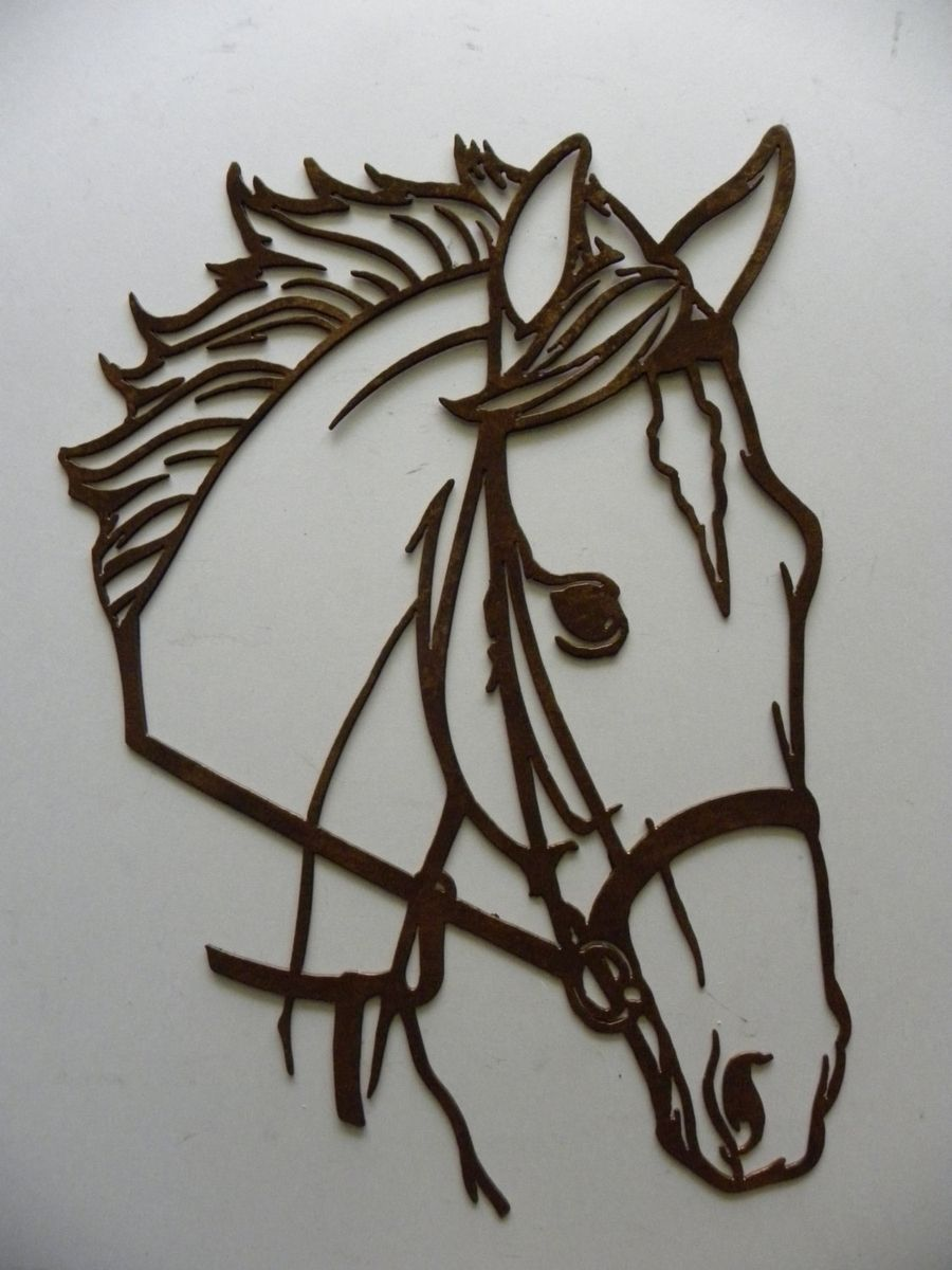 hand crafted horse head metal wall art country rustic home decor - Home Decor Art