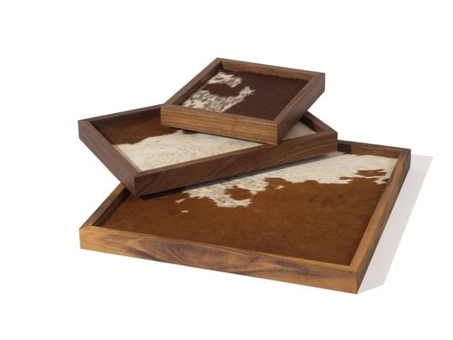 Custom Made Tray Solid Wood And Cowhide