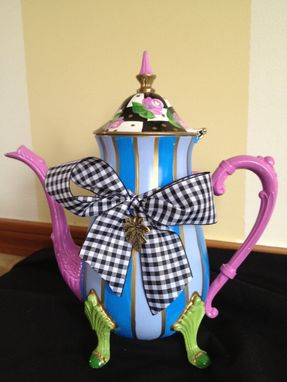 Custom Made Hand Painted Silver Tea Pot