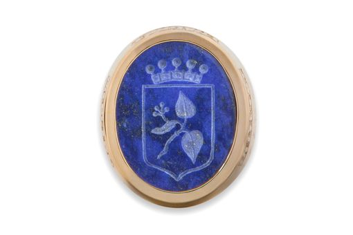 Custom Made Family Crest Ring Lapis And Gold
