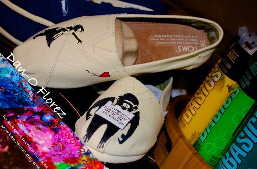Custom Made Custom Painted Bansky Inspired Toms Shoes