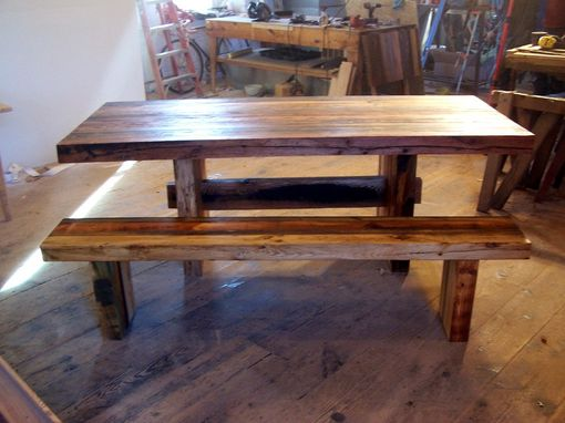 Custom Made Modern Trestle Table Handcrafted From Reclaimed Wood