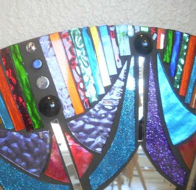 Custom Made Mosaic Mirror Colorful Stained Glass Round