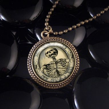 Custom Made Memento Mori Death Skull Antique Bronze Pendant Necklace 131-Brn