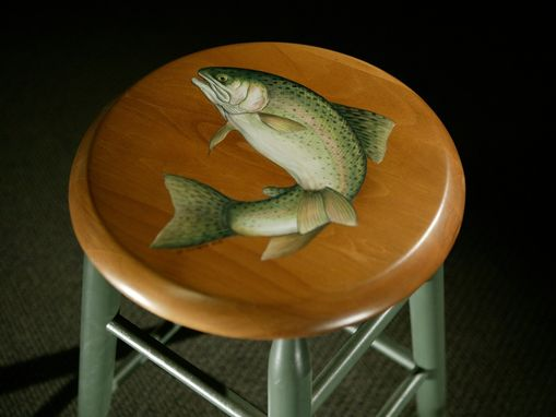 Custom Made Round Kitchen Stool With Fish