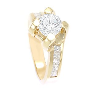 Custom Made Princess Cut Diamond Engagement Ring In 14k Yellow Gold, Proposal Ring, Wedding Ring