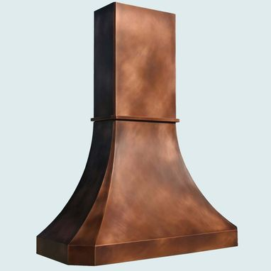 Custom Made Copper Range Hood With Tall Stack