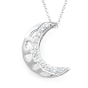 Custom Made Diamond Crescent Moon Pendant In 14k White Gold, Moon Pendant, Diamond Pendant