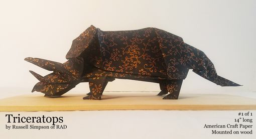 Custom Made Triceratops Origami Sculpture