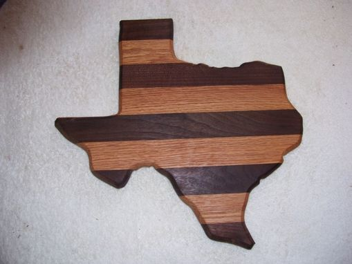 Custom Made Texas State Cutting Board Is Made From Oak And Walnut