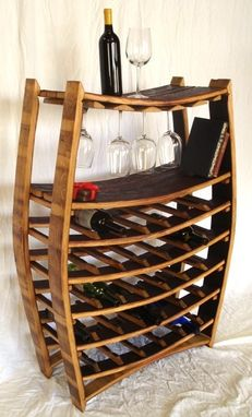 Custom Made Chablis - Barrel Stave Wine Bottle And Glass Rack