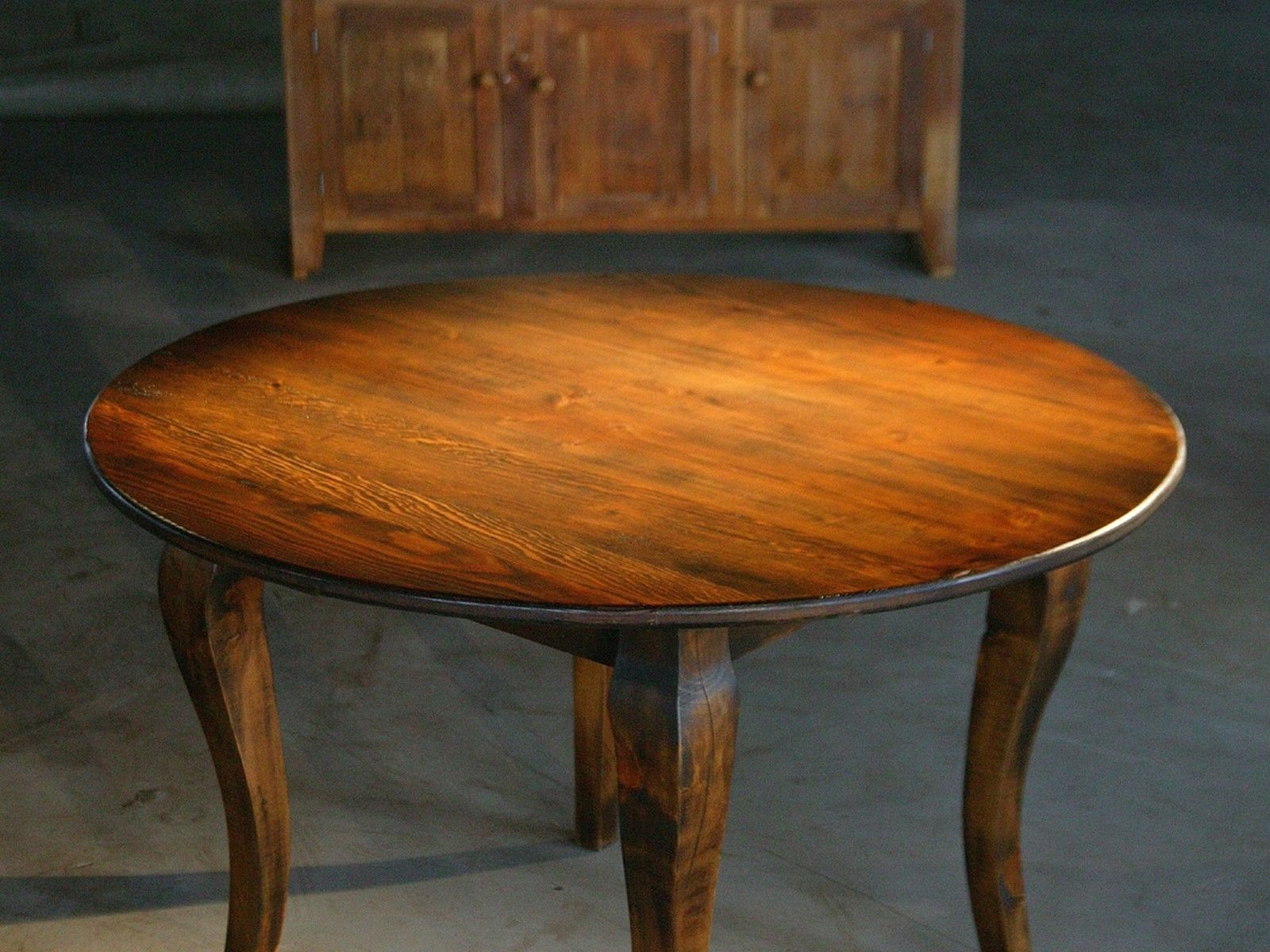 Custom Made Round End Table From Reclaimed Old Pine