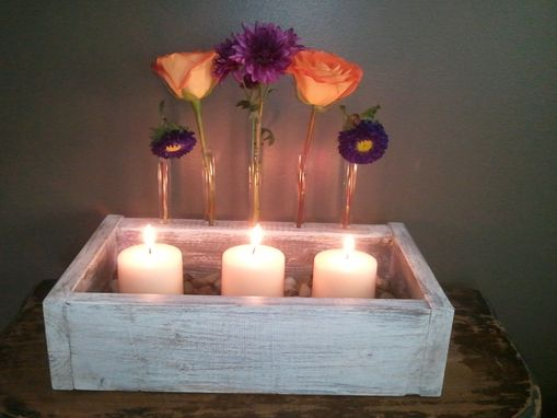 Custom Made Test Tube Vases In Distressed Wood
