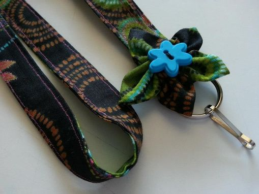 Custom Made Fabric Lanyard With Matching Fabric Flower - Id Badge Or Key Holder