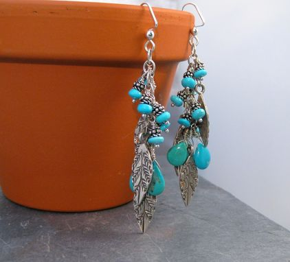 Custom Made Turquoise Sky Feathered Earrings