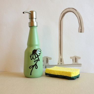 Custom Made Soap Dispenser, Mint Green, Oil And Vinegar Glass Bottle, Hand Painted Daisy