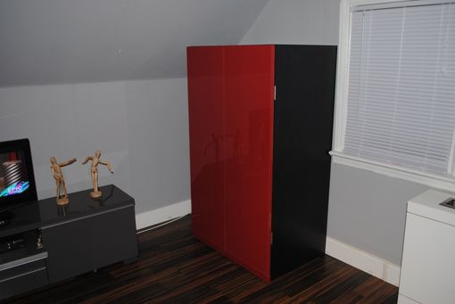 Custom Made Black Armoire W/ High Gloss Red Doors