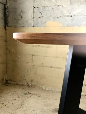 Custom Made Modern Walnut Steel & Brass 6 Seat Dining Table