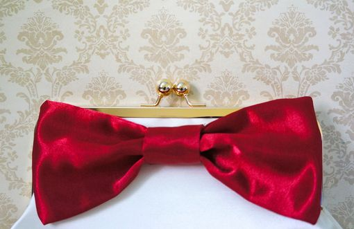 Custom Made Red Clutch Purse With A Big Red Bow