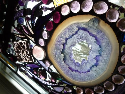 Custom Made Amethyst-Colored Stained Glass Abstract Mixed Media Panel