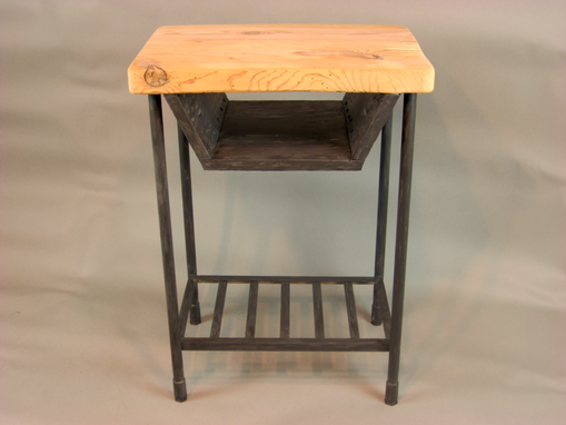 Custom Made Reclaimed Industrial Rustic Custom Contemporary End Table