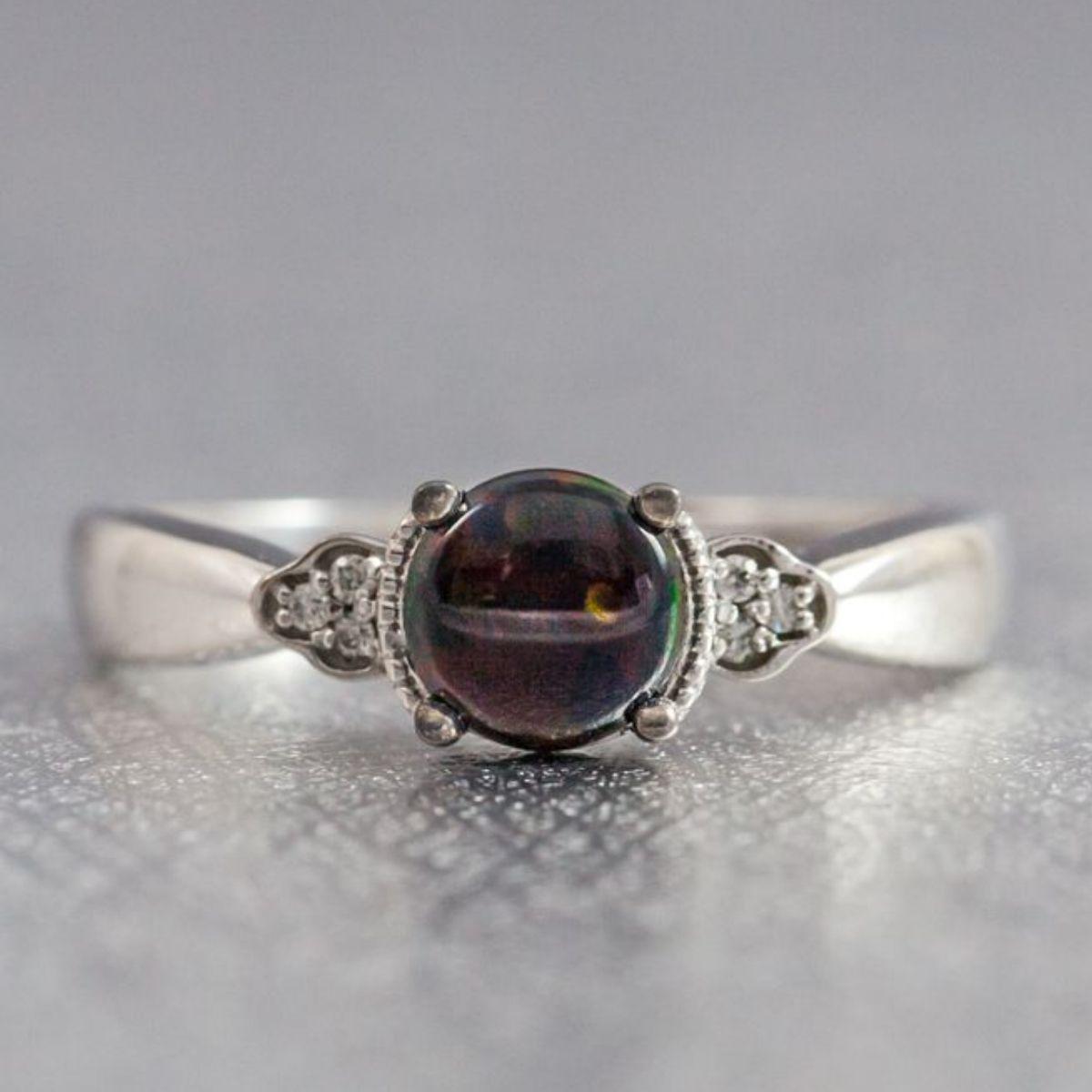 black opal engagement ring