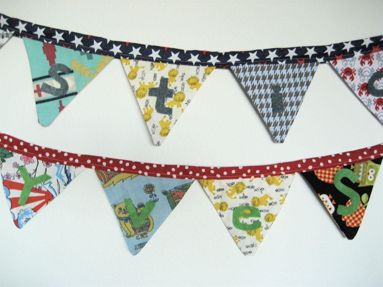 Custom Made Two Name Fabric Buntings Nursery Decor Cloth Pennant Flag Banner For