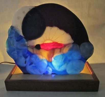 Custom Made Fused Glass Illuminated Night Sculpture -Island Baby
