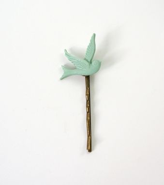 Custom Made Hairpin In Seafoam Bird