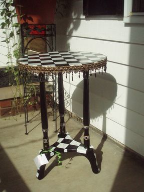 Custom Made Hand Painted Black And White Checked Accent Table // Round Pedestal Table