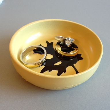 Custom Made Jewelry Dish, Ring Holder, Autumn Leaves, Painted Yellow Glass