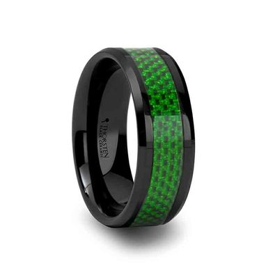 Custom Made Matlal Black Ceramic Ring With Emerald Green Carbon Fiber Inlay And Beveled Edges - 8mm