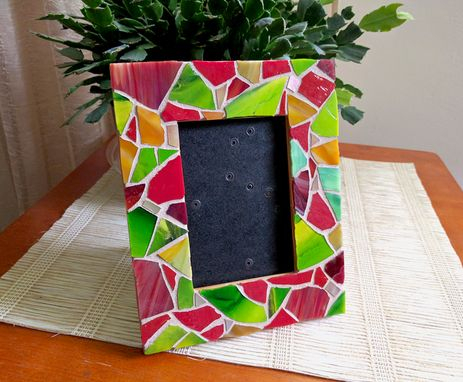 Custom Made Red And Green Stained Glass Mosaic Picture Frame, Upcycled Wooden Frame
