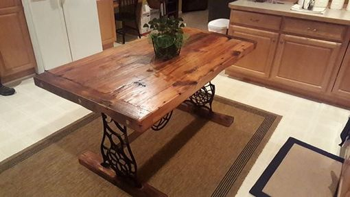 Custom Made Barn Wood Dining Table With Singer Base