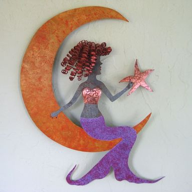 Custom Made Handmade Upcycled Metal Mermaid On Moon Wall Art Sculpture