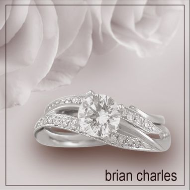 Custom Made Sweeping 18k White Gold Engagement Ring With Vintage Style
