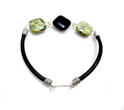 Custom Made Green Black Bracelet - Onyx Bracelet - Onyx Jasper Bracelet - Onyx Leather Bracelet