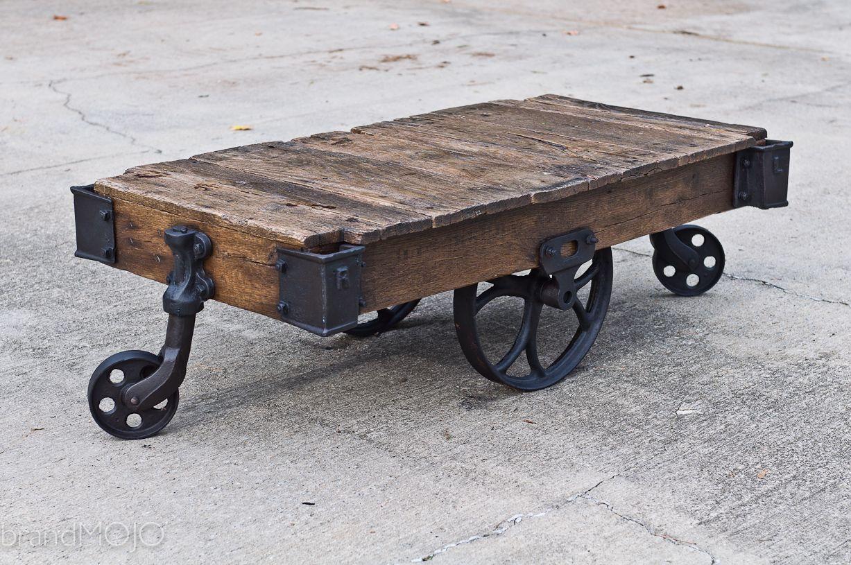 Custom Made Factory Cart Coffee Table