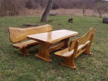 Custom Made Live Edge Picnic Table And Benches