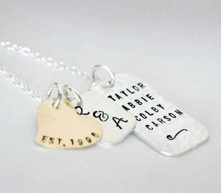 Custom Made Personalized Family Name Necklace Hand Stamped With Dates And Names
