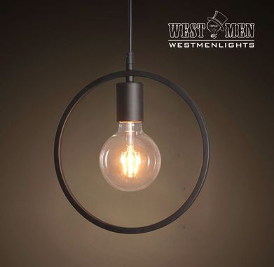 Custom Made Westmenlights Circle Shade Iron Pendant Hanging Light Art Deco Industrial Kitchen Island Lighting