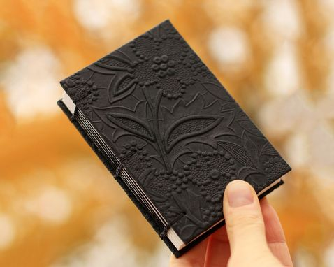 Custom Made Small Pretty Journal With Black Flowers