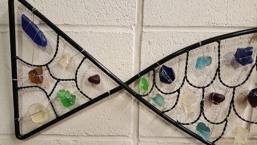 Custom Made Metal Frame Fish With Sea Glass Scales